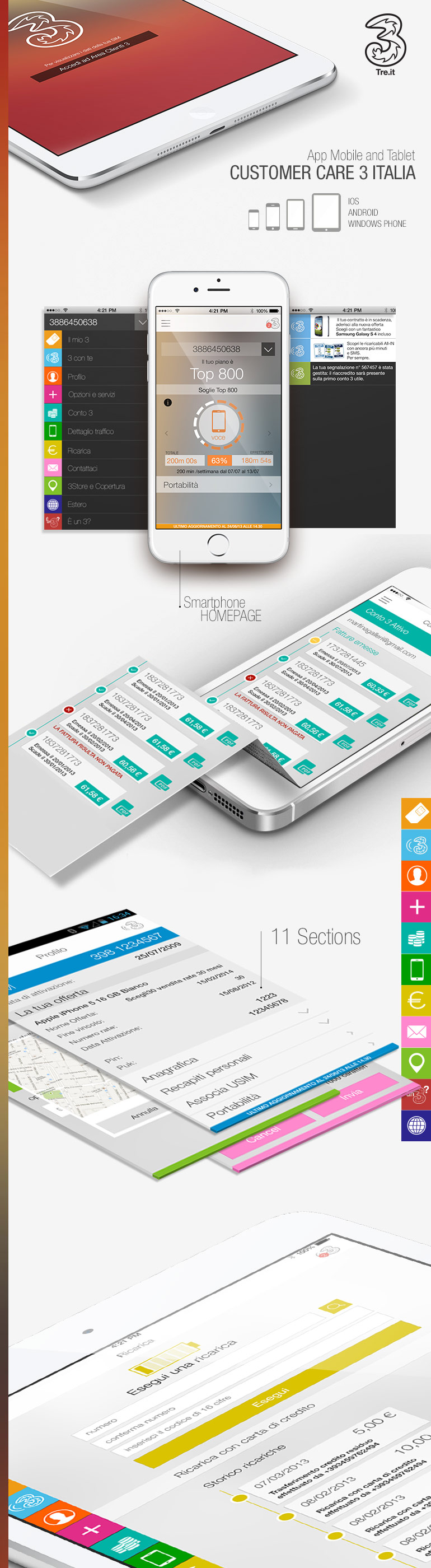 Mobile and tablet app 3 italia